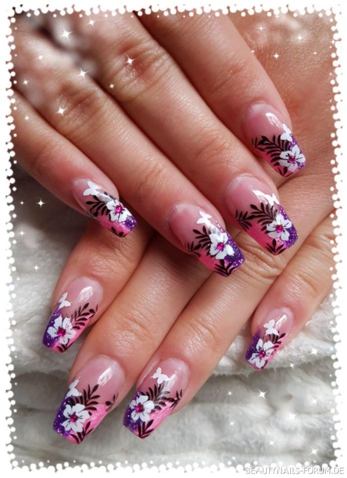 Modellage Lila/pink Und Stamping Nageldesign