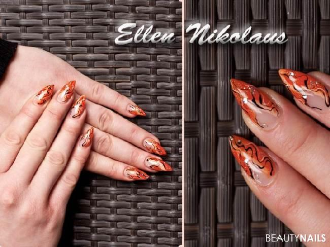 nagel10 Nageldesign - Orange mit Laxfarbe , glitzer..... Nailart