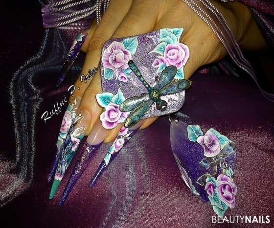 Nail Star Competition II.place Nageldesign - Materials:acrylic powder,polycolor paint,the 3D(flowers:clear Nailart