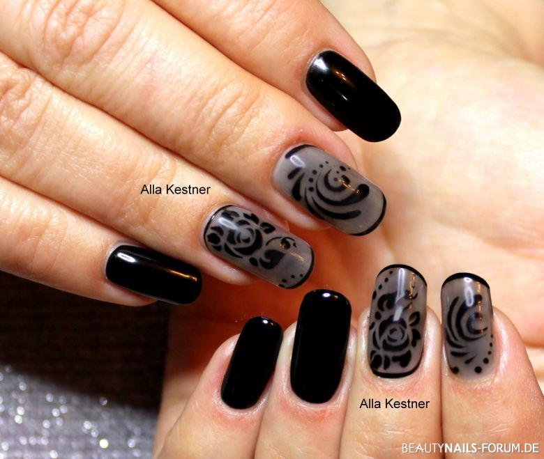 nailart in schwarz und grau nageldesign. Black Bedroom Furniture Sets. Home Design Ideas