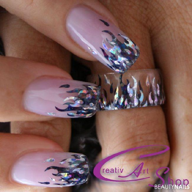 Nailart mit Creativ Sticker und Nailart Ring Nageldesign -  Nailart