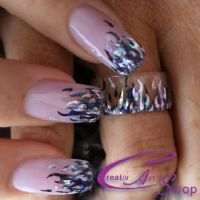 Nailart mit Creativ Sticker und Nailart Ring Nageldesign