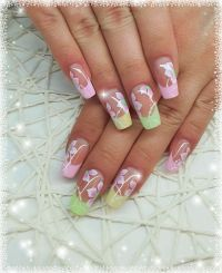 Neon Pastell French mit One Stroke Design Nageldesign