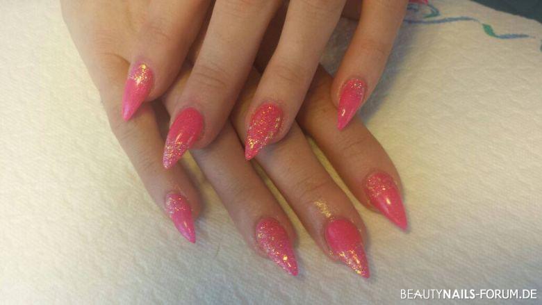 Neon Pink Gelnu00e4gel Mit Glitter Nageldesign