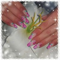 Nude light & One Stroke Blumen - elegante Nailart Nageldesign