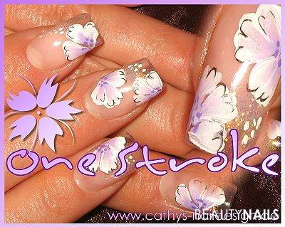 One Stroke Nailart auf clear Nageldesign -  Nailart