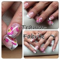 One Stroke Pink Nails Nageldesign