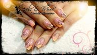 Orange French und glitzer Nageldesign