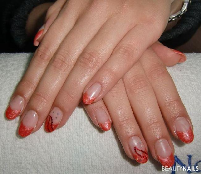 Perlmutt Rotes French U0026 Pailetten - Made By Pu00fcppie. Nageldesign