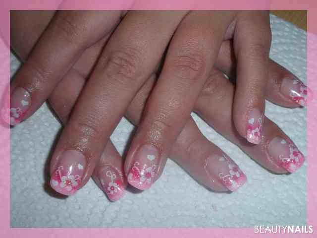 pink/rosa+blumen Nageldesign