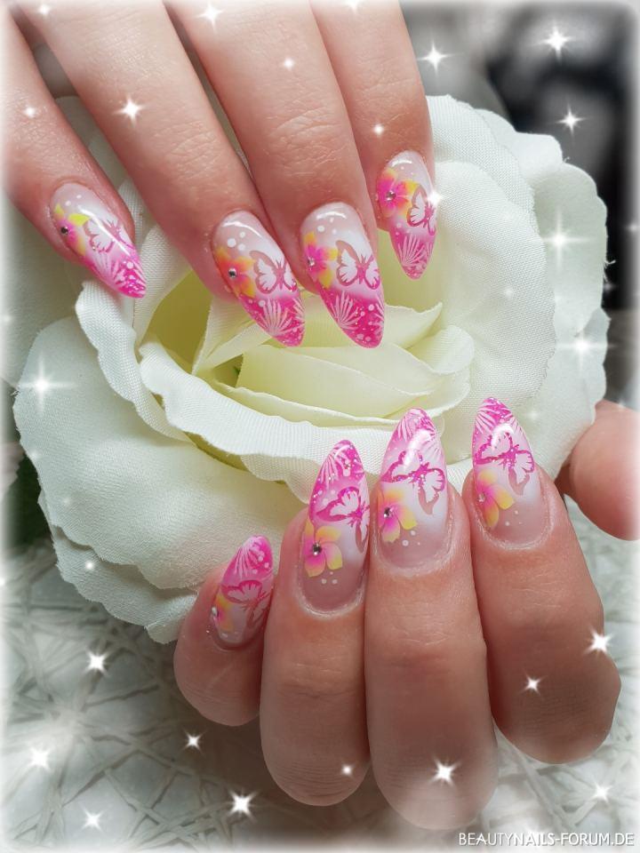 Pink Verlauf und Airbrush Design - Hawaii Nageldesign