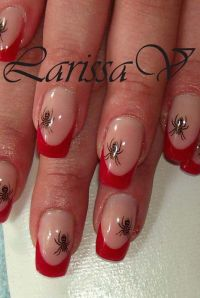 rot-french und 1 probe stemping :) Nageldesign