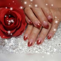 Roter Glitzerverlauf French Style Nageldesign