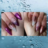 Schneeflocken Design in Chrome und Lila/Rosa Nageldesign