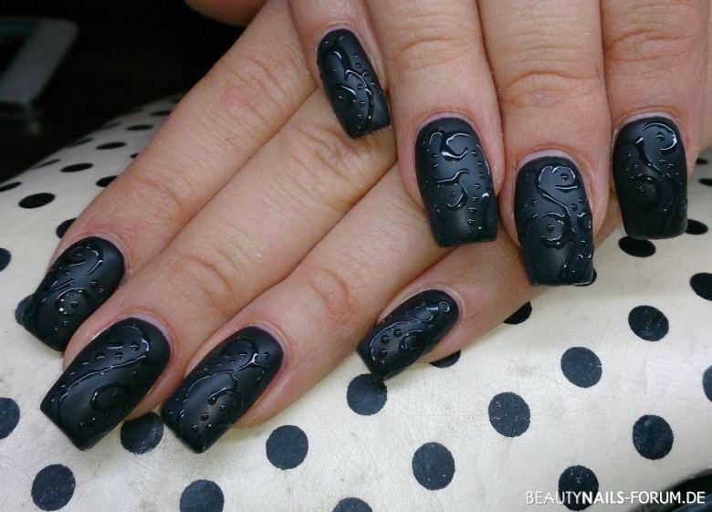 schwarz matt Nageldesign