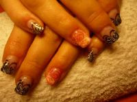 schwarz, pink, orange Nageldesign