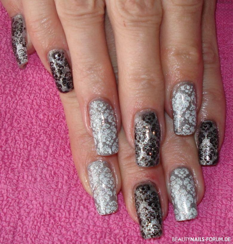 schwarz wei silber stamping nails nageldesign. Black Bedroom Furniture Sets. Home Design Ideas
