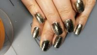 silber chrome nageldesign mit stamping muster Nageldesign