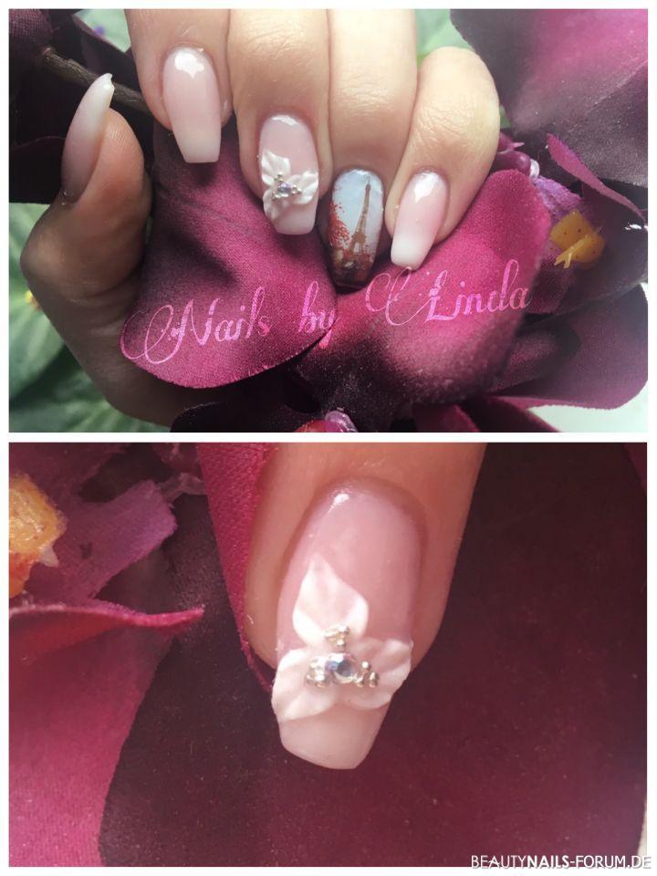 Süße Babyboomer mir 3D-Acrylblümchen Nageldesign rosa weiss - Ich habe mich mal an einer Acrylblume probiert   Gearbeitet wurde Nailart
