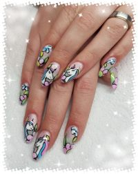 Unicorn Design - Einhorn Nailart Handmalerei Nageldesign