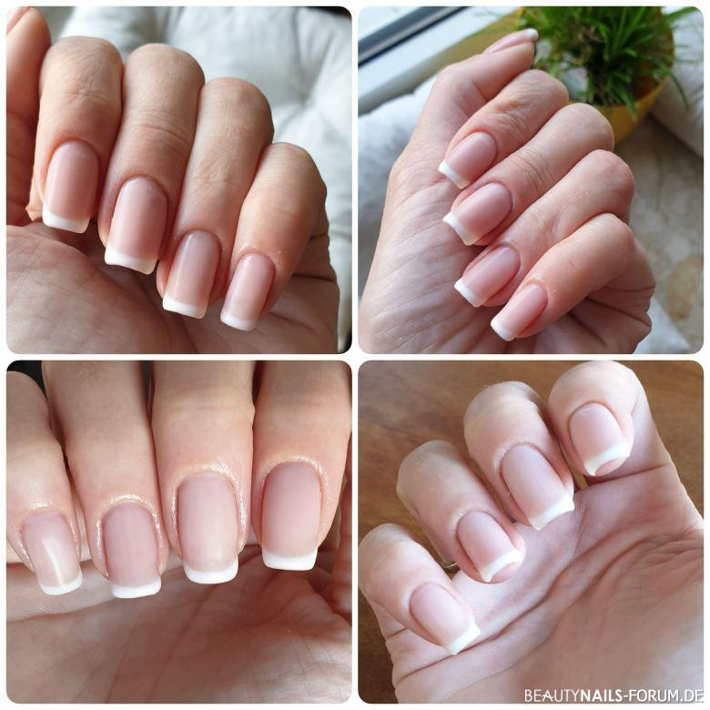 French Manicure matt mit UV-Lack - dezente Nailart