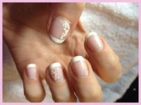 "Nailart French white mit Nagelaufkleber ""Wedding"" Naturnägel"