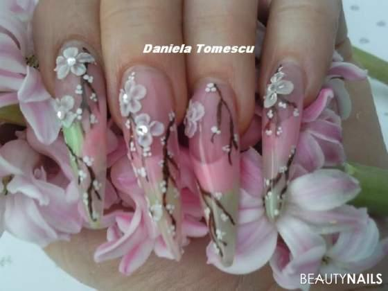 6 Platz Dream german Nails Stilettos - Frühling Nailart