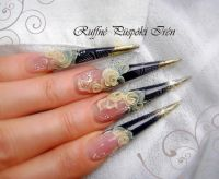 Black and gold stiletto nails Stilettos