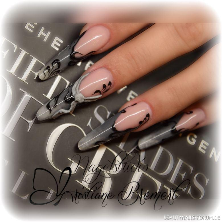 Fifty Shades of Grey - graues, tolles Nageldesign