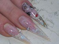 meine :) clear mit glitter, stamping und malerei Stilettos