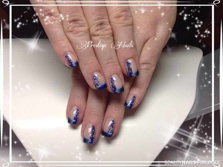 Airbrush Design Winter-Frost in blau und weiß, Glitter Winter & Weihnachten