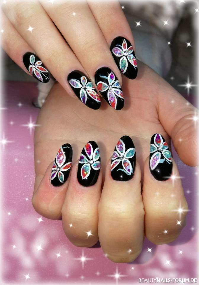 Black and Glitter Flowers
