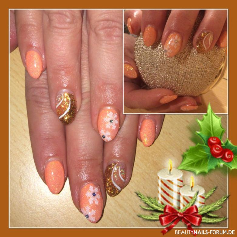 Fullcover Weihnachtsglamour gold apricot glitzer