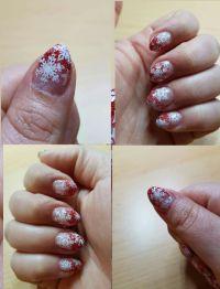 Glitzerverlauf rot mit Flöckchen Winter & Weihnachten