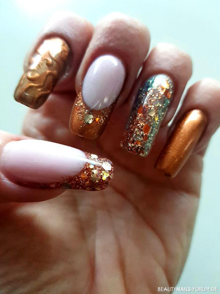 New Year / Sylvester Nails Winter & Weihnachten türkis braun gold - Gel Nails   Nailart