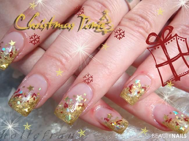 Weihnachten in rot/gold mit Hologrammsternen und -pailletten, Microperlen Nailart