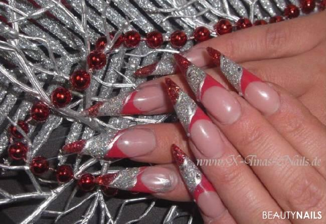 Weihnachtsnägel silber, rot, Dunkelrot