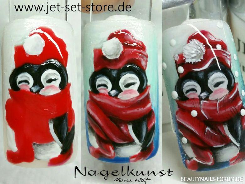Winterliches Nageldesign Gelmalerei Pinguin Winter & Weihnachten rot - Kleine step by step winterliche gelmalerei Nailart