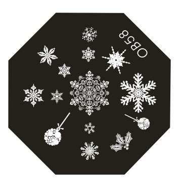 bild schneeflocken stampingschablone nageldesign modellage anleitungen. Black Bedroom Furniture Sets. Home Design Ideas