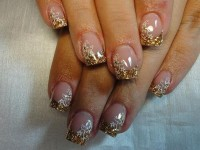 French in gold mit Stamping Nailart goldene Hochzeit in Nageldesign