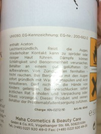 Inhaltstoffe Shellac remover Frauenpresse  Gel-Nägel  /  Shellac in